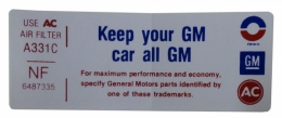 """Keep Your GM Car All GM"" Air Cleaner Decal"