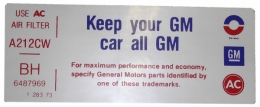 "Air Cleaner Decal - ""Keep your GM car all GM"" -  455-4V"