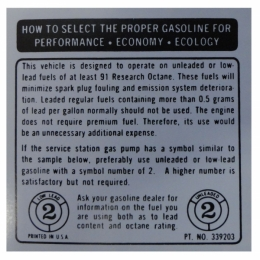 Glove Box Fuel Recommendation Decal
