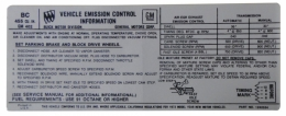 Manual & Automatic Transmission Emission Decal - 455-4V