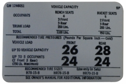 Tire Pressure & Maintenance Decal