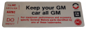 "Air Cleaner Decal - ""All GM"""