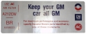 "Air Cleaner Decal - ""Keep your GM car all GM"" -  455-4V Stage 1"