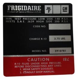 Frigidaire AC Compressor Decal