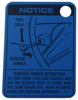 Headlight Dimmer Instructions Tag