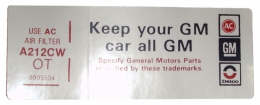 "Air Cleaner Decal - ""Keep your GM car all GM"" -  350"