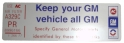 "Air Cleaner Decal - ""Keep your GM car all GM"" - 401 Pontiac Engine"