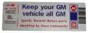 "Air Cleaner Decal - ""Keep your GM car all GM"" - Grand National"