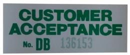 Customer Acceptance Window Decal