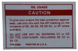 Oil Usage Caution Decal
