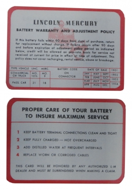 Decals & Stickers Lincoln / Mercury Battery Warranty Card - DL0351