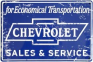 Metal Sign - Chevy Sales & Service