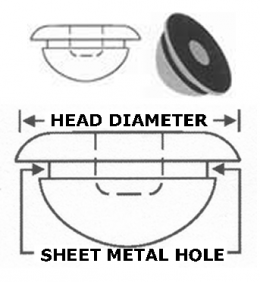 "Body Plug - 1/2"" SM HOLE - 3/4"" HEAD - RUBBER"