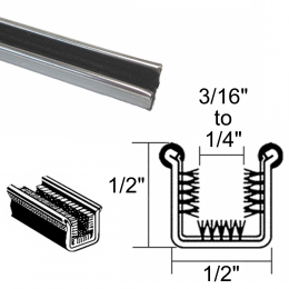 "Window Run Channel - Rigid - With Stainless Bead - Pair of 3' Strips - 1/2"" Tall 1/2"" Wide"