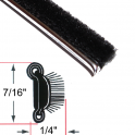 "Beltline Weatherstrip - Also Called Window Sweeps, Felts or Fuzzies - Flexible - Inner or Outer - 7/16"" Tall 15/64"" Wide - Stainless Bead"