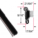 "Beltline Weatherstrip - Also Called Window Sweeps, Felts or Fuzzies - Flexible - Inner or Outer - 9/16"" Tall 21/64"" Wide - Stainless Bead"