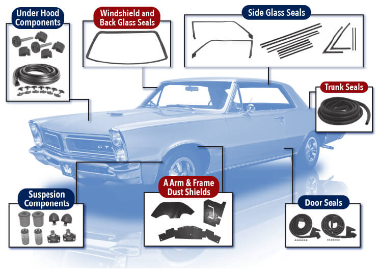 Classic Car Parts - Weatherstripping Parts - Rubber Car Parts